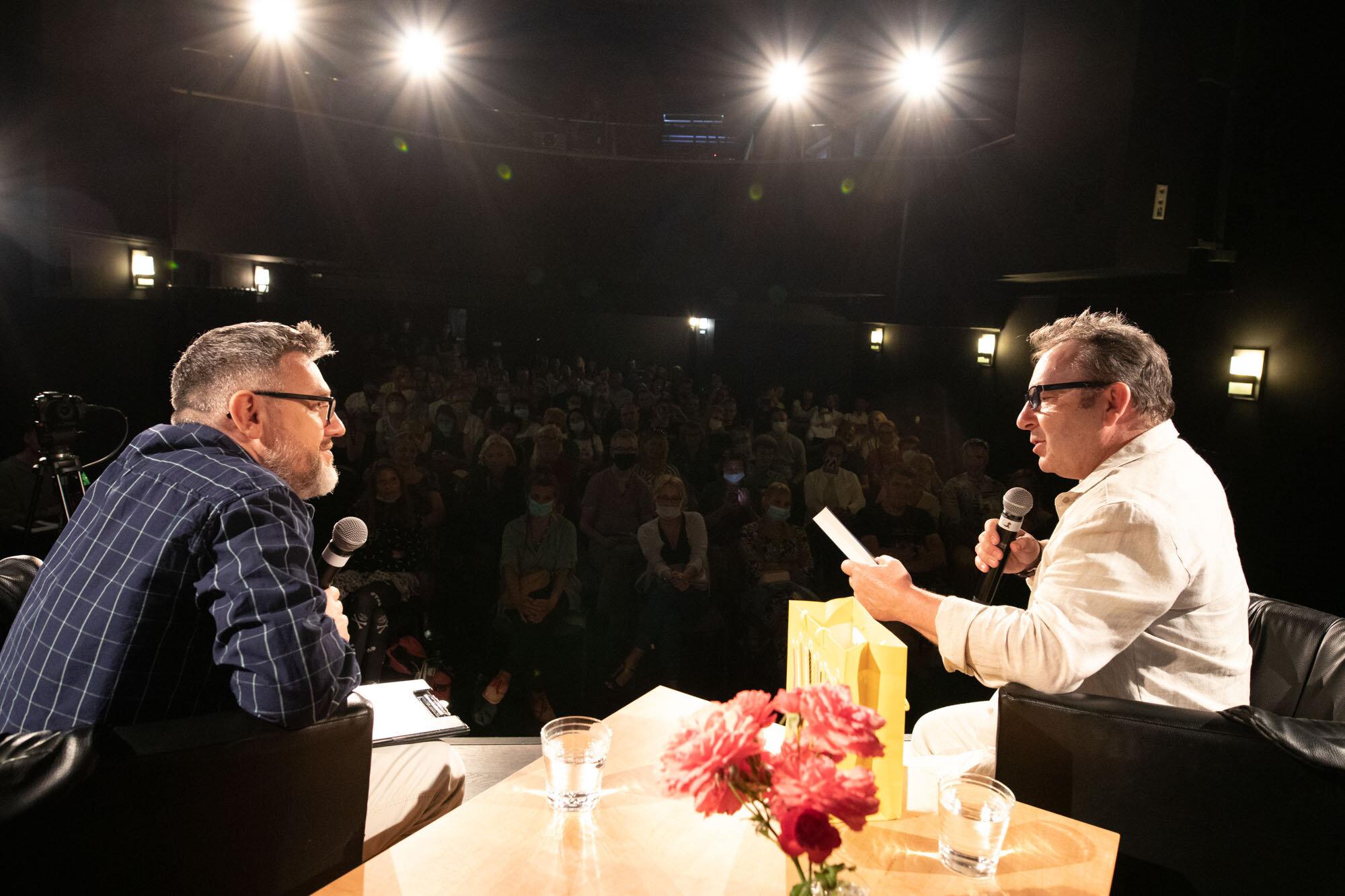 Zbigniew Zamachowski i Krzysztof Spór podczas spotkania w ramach 15. DWF