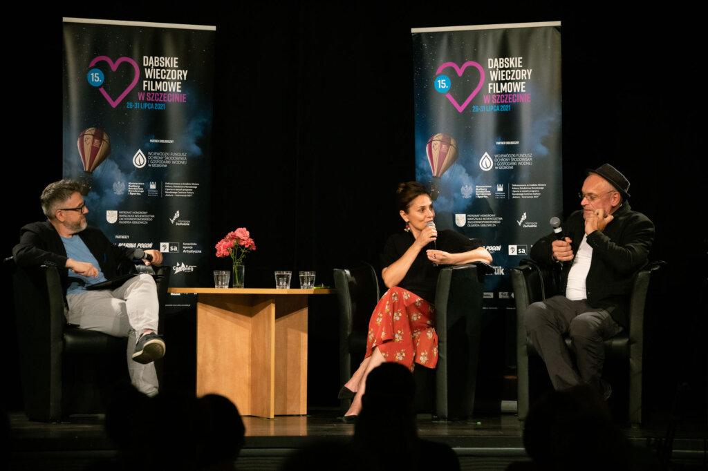 Dorota Landowska, Mariusz Bonaszewski i Krzysztof Spór podczas spotkania w ramach 15. DWF